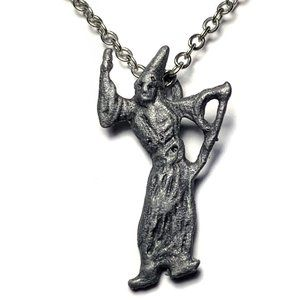 Vintage Pewter Tiny WIZARD Necklace